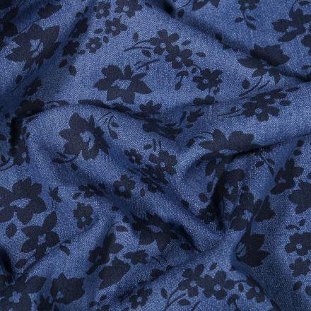Tissu Jean élasthanne Fleurs noires sur fond Bleu - Par 10 cm