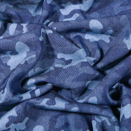 Tissu Chambray Camouflage sur fond Bleu - Par 10 cm