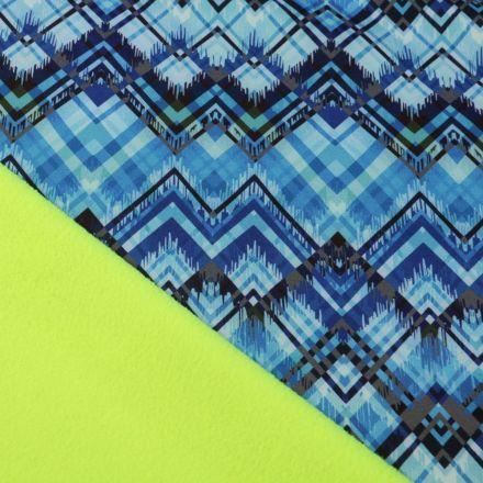 Tissu Softshell Pyramides envers polaire jaune fluo sur fond Bleu - Par 10 cm