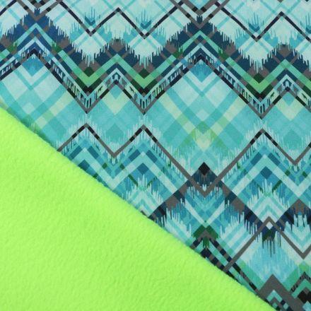 Tissu Softshell Pyramides envers polaire vert fluo sur fond Vert menthe - Par 10 cm