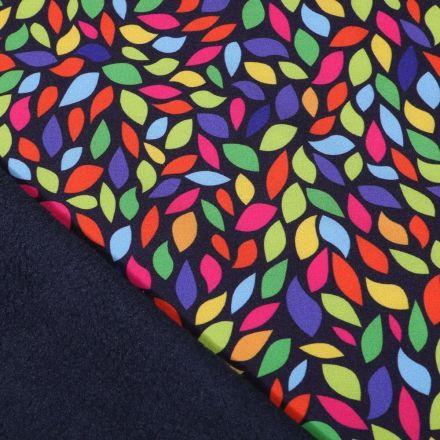 Tissu Softshell Pétales multicolores sur fond Bleu marine - Par 10 cm