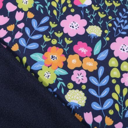 Tissu Softshell Fleuris sur fond Bleu marine - Par 10 cm
