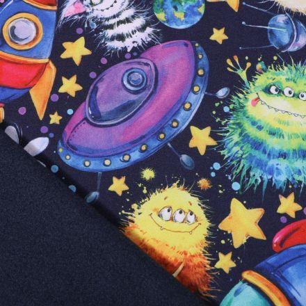 Tissu Softshell Monstres et planètes sur fond Bleu marine - Par 10 cm