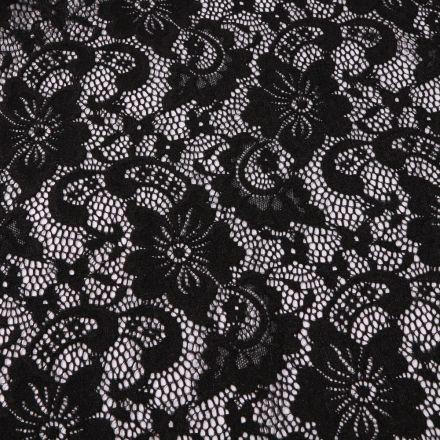 Tissu Dentelle Laura Noir - Par 10 cm