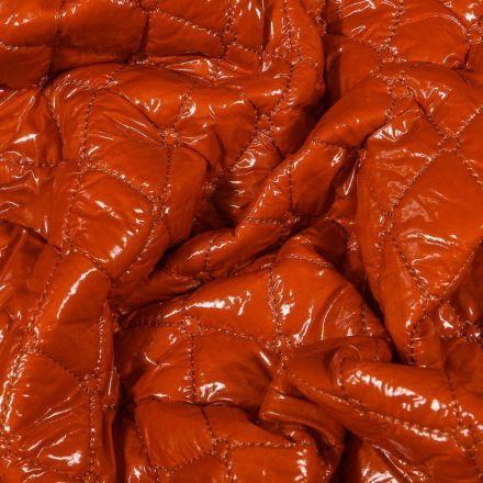 Tissu Doudoune matelassée Brillante sur fond Brique - Par 10 cm