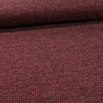 Tissu Maille Julia Pied de poule sur fond Bordeaux - Par 10 cm