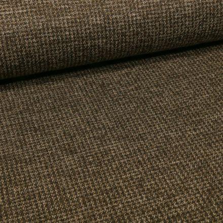 Tissu Maille Julia Pied de poule sur fond Vert kaki - Par 10 cm
