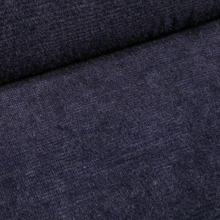 Tissu Maille chenille rayures tout doux Bleu marine - Par 10 cm