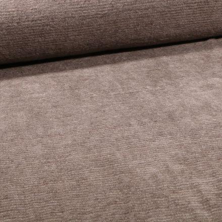 Tissu Maille chenille rayures tout doux Taupe - Par 10 cm