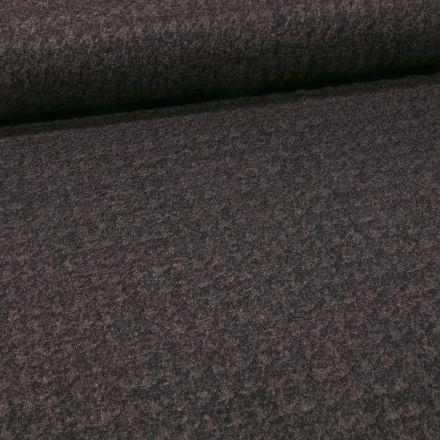 Tissu Maille Polyviscose Pieds de poules sur fond Noir - Par 10 cm