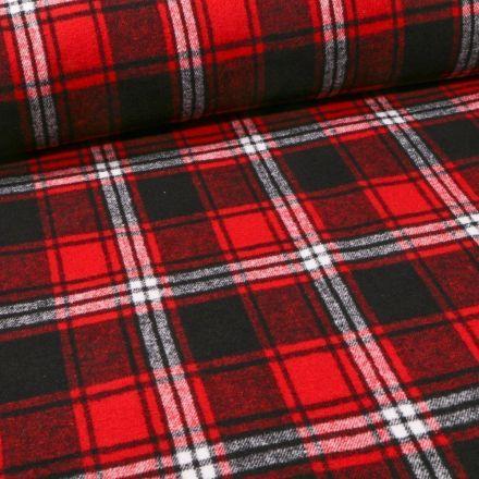 Tissu Caban Mélange Laine Écossais sur fond Rouge - Par 10 cm
