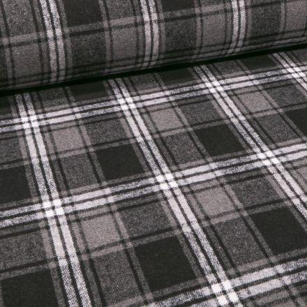 Tissu Caban Mélange Laine Écossais sur fond Gris - Par 10 cm