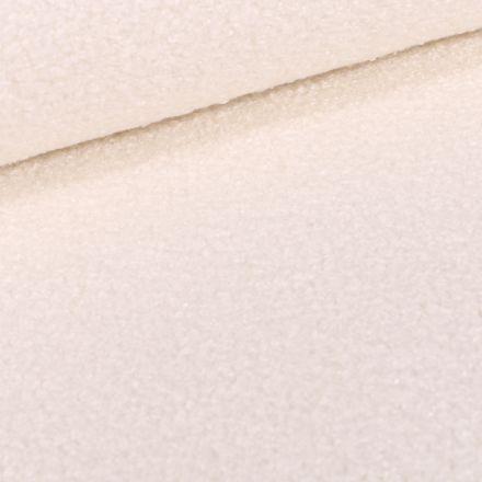 Tissu Lainage Petites bouclettes sur fond Blanc cassé