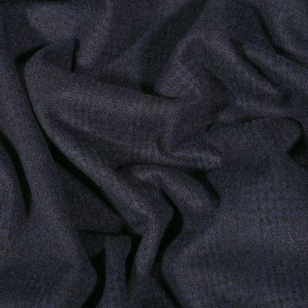 Tissu Jersey Milano toucher laine Prince de Galles sur fond Bleu marine - Par 10 cm
