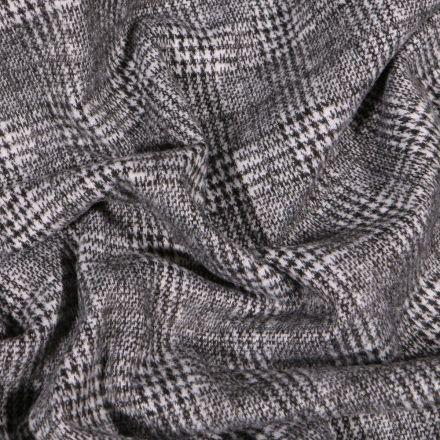 Tissu Jersey Milano toucher laine Prince de Galles sur fond Blanc - Par 10 cm