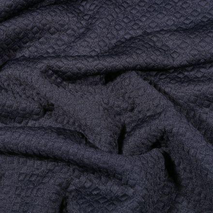 Tissu Jacquard Jersey Petits losanges sur fond Bleu marine - Par 10 cm