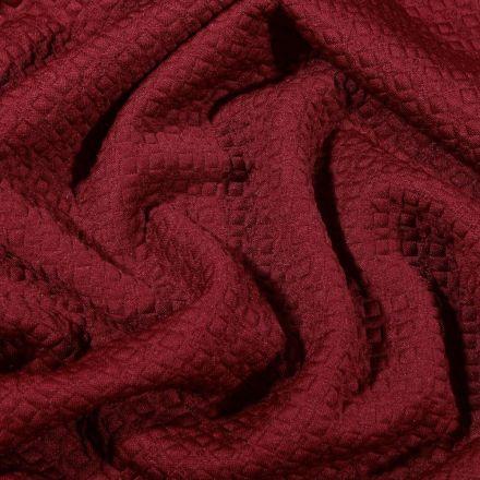 Tissu Jacquard Jersey Petits losanges sur fond Bordeaux - Par 10 cm