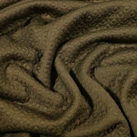 Tissu Jacquard Jersey Petits losanges sur fond Vert kaki - Par 10 cm