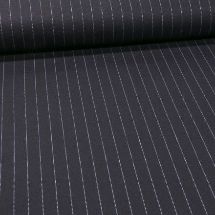 Tissu Jersey Milano Rayé sur fond Bleu marine - Par 10 cm