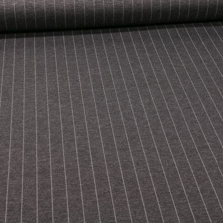 Tissu Jersey Milano Rayé sur fond Gris anthracite chiné - Par 10 cm