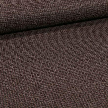 Tissu Maille Polyviscose Mini pied de poule sur fond Marron - Par 10 cm