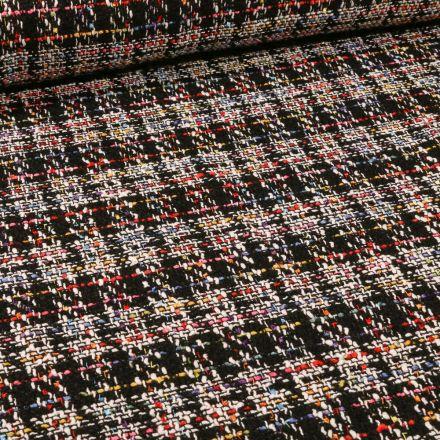 Tissu Tweed coloré sur fond Noir - Par 10 cm