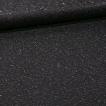 Tissu Jersey Milano Chiné multicolore sur fond Noir - Par 10 cm