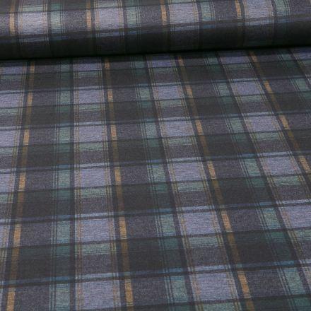 Tissu Jersey Milano Carreaux vert et jaune sur fond Gris chiné - Par 10 cm