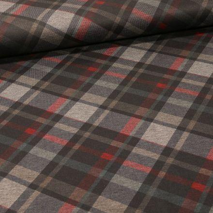 Tissu Jersey Milano Charles sur fond Taupe - Par 10 cm
