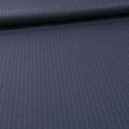 Tissu Jersey Milano rayures grises sur fond Bleu marine - Par 10 cm