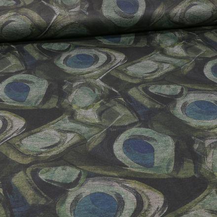 Tissu Jersey Milano Motifs abstraits verts et bleus sur fond Gris - Par 10 cm
