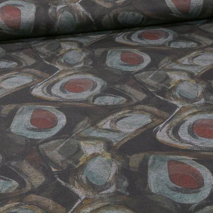 Tissu Jersey Milano Motifs abstraits gris et rouge sur fond Gris - Par 10 cm