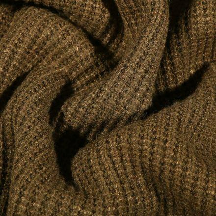 Tissu Maille tricot Viscose Vert kaki - Par 10 cm