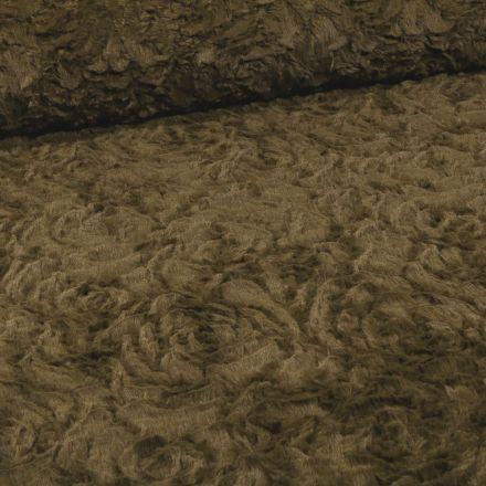 Tissu Fausse fourrure  Rosalie sur fond Vert kaki - Par 10 cm