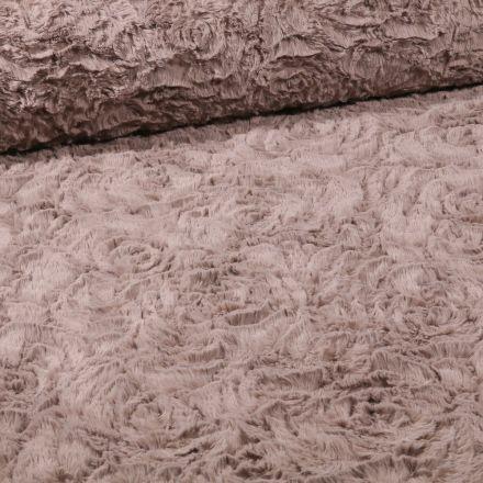 Tissu Fausse fourrure  Rosalie sur fond Taupe - Par 10 cm