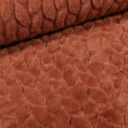 Tissu Fausse fourrure Pétales sur fond Brique - Par 10 cm