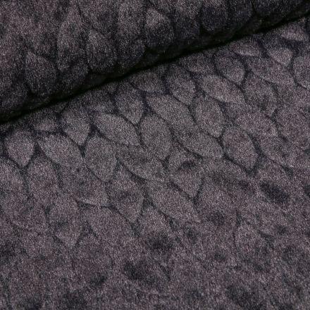 Tissu Fausse fourrure Pétales sur fond Noir - Par 10 cm