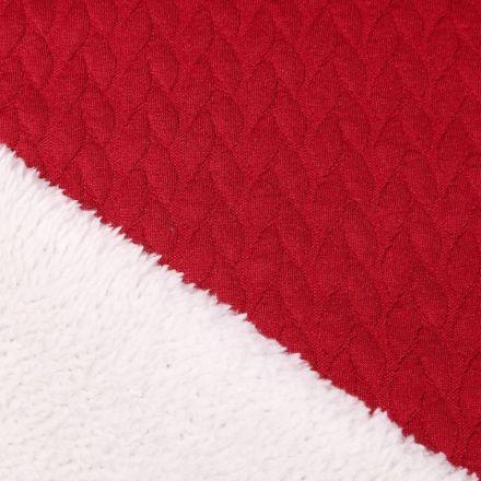 Tissu Sweat envers mouton Pétales sur fond Rouge foncé - Par 10 cm