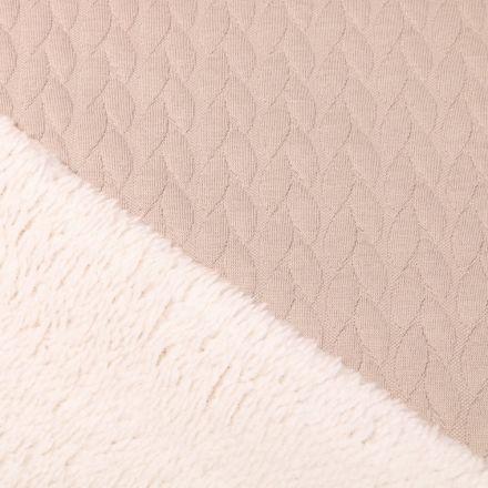 Tissu Sweat envers mouton Pétales sur fond Beige - Par 10 cm