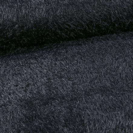 Tissu Fausse fourrure long poils Gloria Bleu marine - Par 10 cm