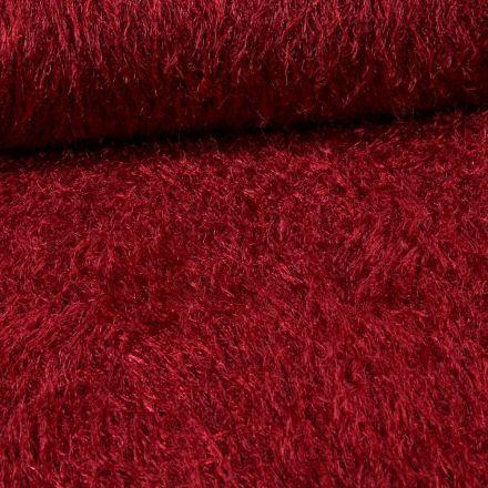 Tissu Fausse fourrure long poils Gloria Bordeaux - Par 10 cm