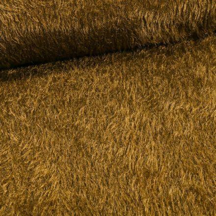 Tissu Fausse fourrure long poils Gloria Vert kaki - Par 10 cm
