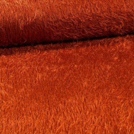 Tissu Fausse fourrure long poils Gloria Brique - Par 10 cm