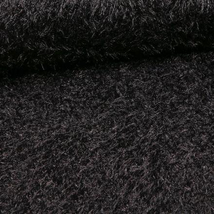 Tissu Fausse fourrure long poils Gloria Noir - Par 10 cm