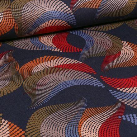 Tissu Jersey Milano  Motifs abstraits colorés sur fond Bleu marine - Par 10 cm