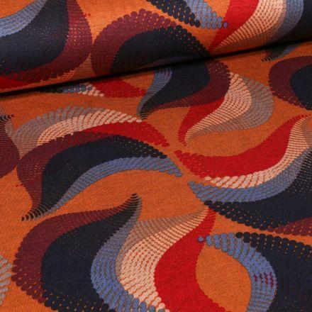 Tissu Jersey Milano  Motifs abstraits colorés sur fond Rouille - Par 10 cm