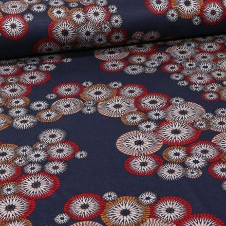 Tissu Jersey Milano Rosaces sur fond Bleu marine - Par 10 cm
