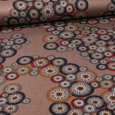 Tissu Jersey Milano Rosaces sur fond Taupe - Par 10 cm