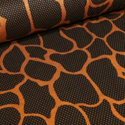 Tissu Jersey Milano Alvéoles ocre sur fond Noir - Par 10 cm