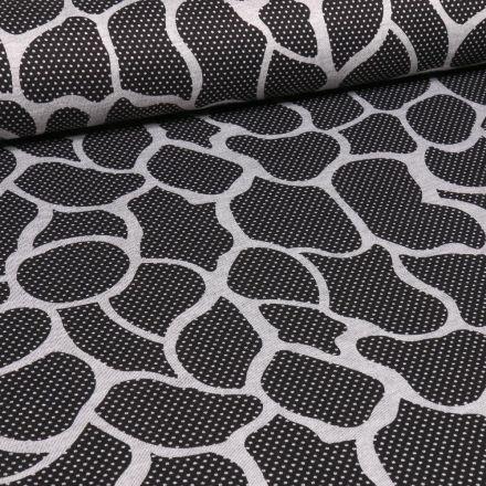 Tissu Jersey Milano Alvéoles blanches sur fond Noir - Par 10 cm